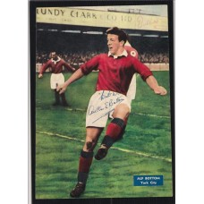 Autographed action picture of York City footballer Alf Bottom.
