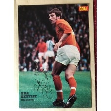 Signed picture of Bill Bentley the Blackpool footballer.