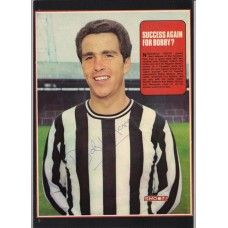 Signed portrait of Bobby Moncur the Newcastle United footballer.
