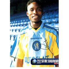 Signed picture of Celestine Babayaro the Chelsea footballer.
