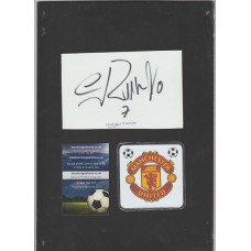 Signed plain card by Cristiano Ronaldo the Manchester United/Real Madrid footballer