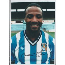 Signed photo of Cyrille Regis the Coventry City Footballer.