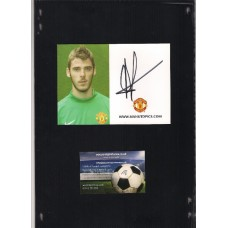 Signed photocard of David De Gea the Manchester United footballer.
