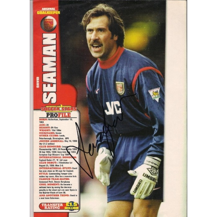 0ac4983c5 Signed picture of David Seaman the Arsenal footballer.