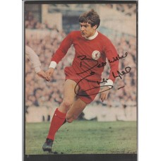 Signed picture of Liverpool footballer and Kop legend Emlyn Hughes.