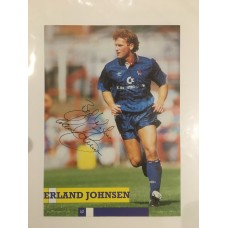 Signed  picture of Erland Johnsen the Chelsea footballer.