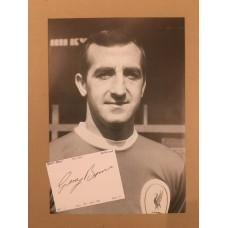 Signed card by GERRY BYRNE the late LIVERPOOL Footballer.