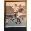 Signed picture of Ian Ure Manchester United and John O'Hare the Derby County footballers.
