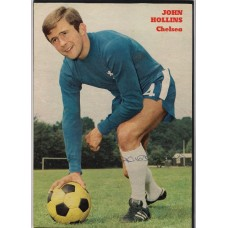 Signed picture of John Hollins the Chelsea footballer.