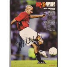 Signed picture of Manchester United footballer Juan Sebastian Veron