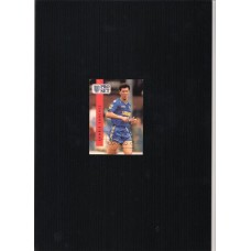 Autographed football card of Lawrie Sanchez the Wimbledon footballer.