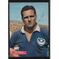 Signed picture of Len Phillips the Portsmouth and England footballer.