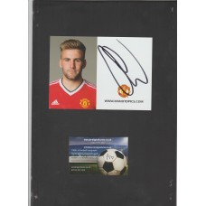 Official Manchester United photocard signed by Luke Shaw.