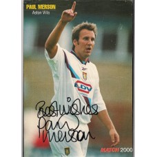 Signed picture of Paul Merson the Aston Villa footballer.