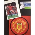 Signed picture of Peter Barnes the Manchester United footballer.