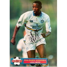 Signed picture of Philomen Masinga the Leeds United footballer.
