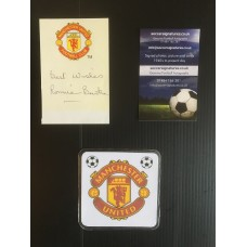 Signed crested slip signed by RONNIE BURKE the MANCHESTER UNITED footballer.