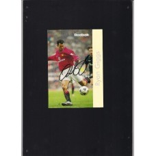Signed Reebok card of Ryan Giggs the Manchester United and Wales footballer