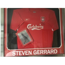 STEVEN GERRARD SIGNED & FRAMED LIVERPOOL SHIRT.