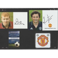 Official Manchester United photo card signed by Paul Scholes.
