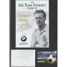 Signed card by and trubute dinner menu for Sir Tom Finney the PNE & England footballer.