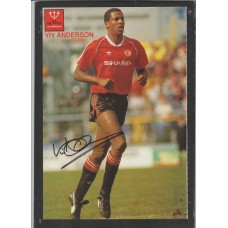 Signed picture of Viv Anderson the Manchester United footballer.