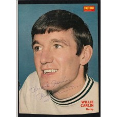 Autographed portrait of the former Derby County footballer Willie Carlin.